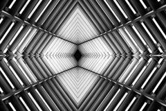 Metal la estructura similar a la foto blanco y negro interior de la nave espacial imagenes de archivo