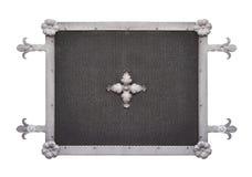 Metal la grille avec des ornements d'isolement sur le fond blanc Photographie stock libre de droits