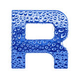 Metal la lettera & innaffi le gocce - segni la R con lettere Fotografie Stock