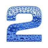 Metal la lettre et arrosez les baisses - le chiffre 2 Images libres de droits