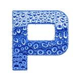 Metal la lettre et arrosez les baisses - marquez avec des lettres P Photographie stock