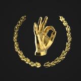 Metal la main humaine montrant le geste CORRECT, entouré par la guirlande d'or de laurier, d'isolement sur le rendu noir de fond Photo stock