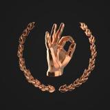 Metal la main humaine montrant le geste CORRECT, entouré par la guirlande d'or de laurier, d'isolement sur le rendu noir de fond Image libre de droits