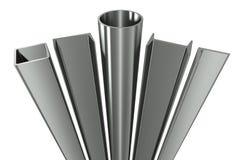 Metal la pipe, les poutres, les angles, les canaux et le t carré illustration libre de droits