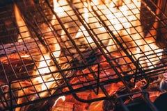 Metal la red sobre la madera ardiente de la ascua del carbón del fuego en parrilla de la barbacoa en imagen de archivo