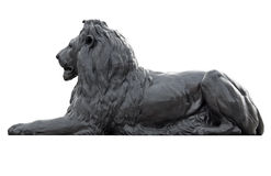 Metal la sculpture d'un lion dans le grand dos de Trafalgar Image libre de droits