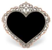 Metal la struttura con i diamanti nella forma di cuore e Fotografia Stock