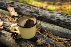 Metal la tasse avec du café chaud sur le fond en bois avec les pièces de monnaie, les aiguilles et l'écorce de l'arbre Photographie stock libre de droits