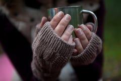 Metal la taza con té caliente en las manos en las manoplas acogedoras calientes Imagen de archivo