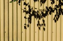 Metal la voie de garage avec les lignes verticales et l'ombre de feuille Images stock