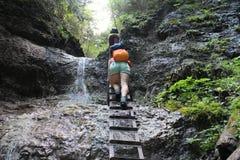 Metal ladder in Canyon Piecky in Slovenský raj Slovak Paradise National Park Stock Photography