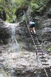 Metal ladder in Canyon Piecky in Slovenský raj Slovak Paradise National Park Stock Photos