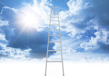 Metal ladder goes to the cloudy sky with shining sun Royalty Free Stock Photos