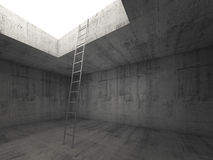 Metal ladder goes to the light out from the concrete interior Stock Images