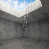Metal ladder goes to the sky out from the concrete interior Royalty Free Stock Image