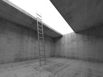 Metal ladder goes up from dark concrete room Stock Image