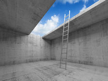 Metal ladder goes up to sky from concrete room. Metal ladder goes up to the sky out from the empty concrete room interior, 3d illustration royalty free illustration