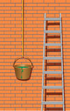Metal ladder near brick wall Stock Image