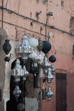 Metal lamps in Moroccan market Royalty Free Stock Images