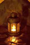 Metal lantern with a candle Royalty Free Stock Image