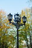 Metal lantern with coat of arms of Veliky Novgorod city Stock Photos