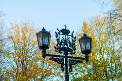 Metal lantern with coat of arms of Veliky Novgorod, Russia Royalty Free Stock Images