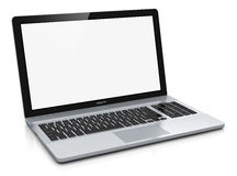 Metal laptop with blank screen Stock Photos