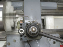 Metal Lathe In Motion Royalty Free Stock Photos