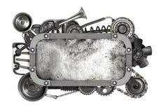 Metal le cadre et la vieille voiture automatique de pièces de rechange d'isolement Photos stock