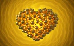 metal le coeur d'or fait de sphères avec des réflexions sur le fond lumineux spiral Illustration heureuse du jour de valentines 3 Photographie stock