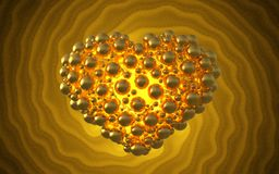 metal le coeur d'or fait de sphères avec des réflexions sur le fond lumineux spiral Illustration heureuse du jour de valentines 3 Image libre de droits