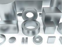 Metal le forme ferro e la rappresentazione dei magneti 3D del neodimio Fotografia Stock