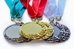 Metal le medaglie per il primo secondo e terzo posto Immagine Stock