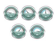 Metal le tachymètre brillant avec le pourcentage de l'illustration de vitesse illustration stock