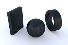 Metal Lead Sculpture. Computer rendered various steel elements in Metal Lead Sculpture Stock Image