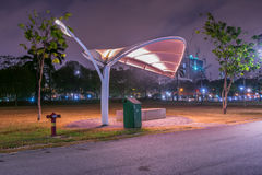 Metal Leaves. A Shade shape metal leaves at bishan park at night Royalty Free Stock Image