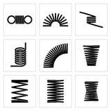 Metal les icônes élastiques de vecteur de ressort de fil flexible en spirale illustration de vecteur