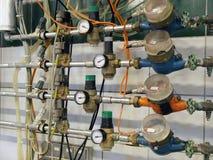 Metal les pipes et la mesure Photo libre de droits