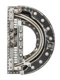 Metal letter. Industrial metal alphabet letter D royalty free stock photography