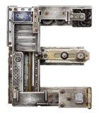 Metal letter. Industrial metal alphabet letter E Stock Images
