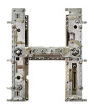 Metal letter. Industrial metal alphabet letter H Stock Photo