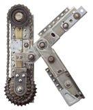 Metal letter. Industrial metal alphabet letter K Stock Image