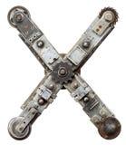 Metal letter. Industrial metal alphabet letter X Stock Photos