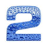 Metal letter & water drops - digit 2 Royalty Free Stock Images