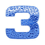 Metal letter & water drops - digit 3 Royalty Free Stock Photo