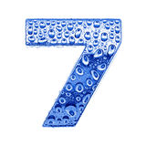 Metal letter & water drops - digit 7 Royalty Free Stock Image