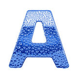 Metal letter & water drops - letter A Royalty Free Stock Photo
