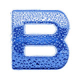 Metal letter & water drops - letter B Royalty Free Stock Image