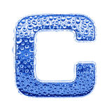 Metal letter & water drops - letter C Stock Photo