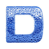 Metal letter & water drops - letter D Stock Photography